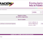Formulario migración Colombia