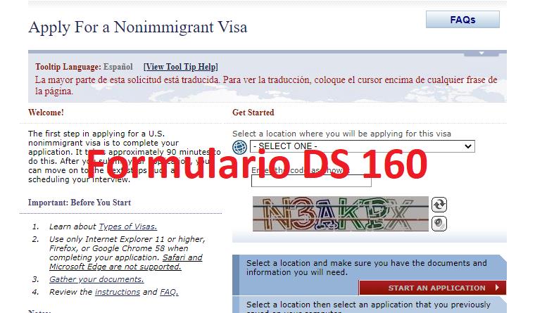 Formulario DS-160 visa americana