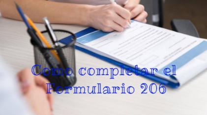 Como completar el Formulario 206